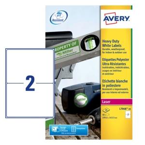/Etichette in poliestere bianco Avery 199,6x143,5 mm - conf. 5 da 40