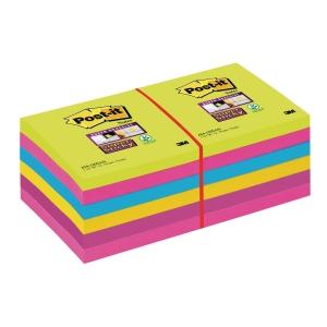 FOGLIETTI POST-IT® ADESIVO SUPER STICKY: KIT 12 BLOCCHETTI 76x76MM ULTRACOLOR
