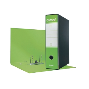 REGISTRATORE CON CUSTODIA OXFORD IN CARTONE 23x33 CM DORSO 8 CM VERDE LIME