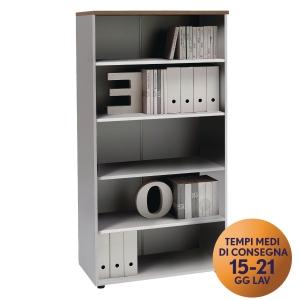 Armadio alto libreria TDM linea Open L 90 x P 48 x H 180 cm noce / bianco