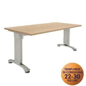 Scrivania Variant Meco Office linea Wood L 160 x P 80 cm rovere / argento