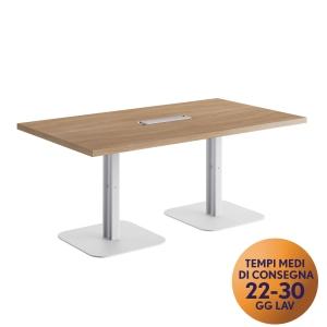 Tavolo riunione MecoOffice linea Arredo L 180 x P 100 x H 74 cm noce / bianco