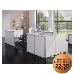 Pannello modulare front-office Meco Office linea Arredo L 100 x H 115 cm bianco