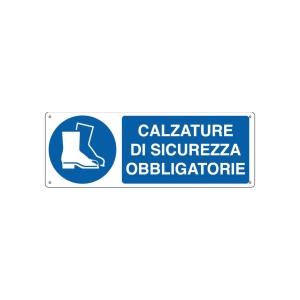 CARTELLO SEGNALETICO DI OBBLIGO   CALZATURE DI SICUREZZA OBBLIGATORIE