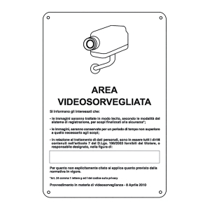 CARTELLO SEGNALETICO VIDEOSORVEGLIANZA   AREA VIDEOSORVEGLIATA