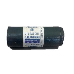 Sacchi spazzatura industriale 70x110 cm 100/120 L nero - rotolo 10