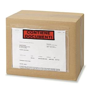 Buste  Contiene documenti  adesive con scritta 225x160mm conf. 250