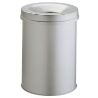 Durable afvalbak uit metaal met vlamdover 15l lichtgrijs