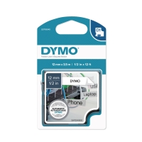 Dymo D1 flexibel etiketteerlint/tape polyester 12mm zwart/wit