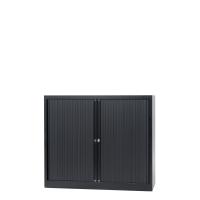 Lage roldeurkast met 2 legborden 120 x 103 x 43 cm zwart