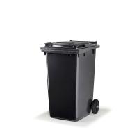 Citec container met rubberen wielen en grijs deksel 240 l