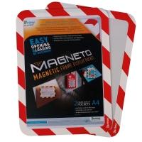 Magnetisch veiligheidskader A4 rood/wit - pak van 2