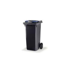 Citec container met rubberen wielen en blauw deksel 120 l
