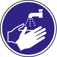 Pictogram wash hands mandatory vinyl Ø200mm