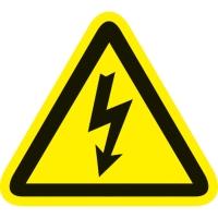 Pictogram waarschuwing gevaarlijk elektrische spanning vinyl 90mm