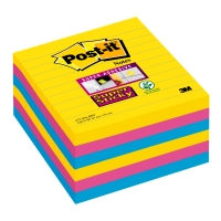 Post-it Super Sticky Notes gelijnd 101x101 mm Rio kleuren - pak van 6