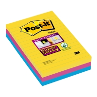 Post-it Super Sticky Notes gelijnd 102x152 mm Rio kleuren - pak van 3
