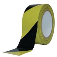 Afzetlint geblokt 8cmx500m zwart/geel in afrolkarton - per doos