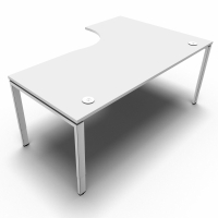Conect Wave Assymetrisch bureau 160x180 cm verstelbare Bridge poten links - wit