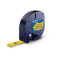 Dymo Letratag 91202 etiketteerlint/tape plastic 12mm zwart/geel