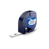 Dymo Letratag 91201 etiketteerlint/tape plastic 12mm zwart/wit