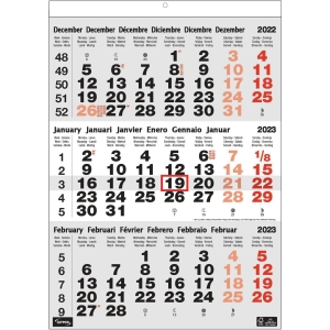 Lyreco 3 month calendar 30x43cm