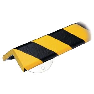 Knuffi hoekprofiel Heavy duty, type H+, 1 meter, geel/zwart, per stuk