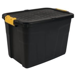 Strata opbergdoos in plastic met deksel 60L zwart