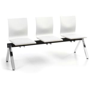 Timor wachtbank met 3 zitplaatsen wit
