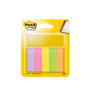 Post-it® Markeerstroken 670/5, 5 neon kleuren, 15 x 50 mm, per set