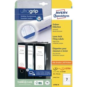 Avery etiketten voor ordners L4760-25 192x38mm wit - doos van 175