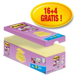 Post-it® Super Sticky Z-Notes voordeelpak S330-CYV, 76 x 76 mm, 16+4 GRATIS