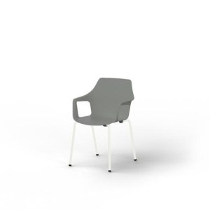 Eol Gelati stoel met armleuningen, grijs, kunststof, per 4 stoelen