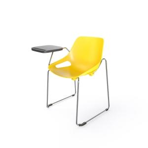 EOL Rosalie stoel met sledeonderstel met schrijfplateau rechts geel