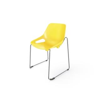 EOL Rosalie stoel met sledeonderstel zonder armleuning geel