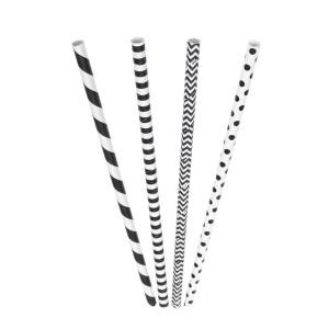 Biologische rietjes uit papier zwart/wit assorti - pak van 200