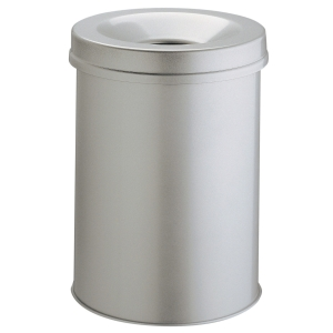 Durable waste bin metal with extinguisherr 15 litres light grey