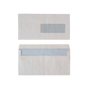 Standard envelopes 114x229mm self seal window right 80g - box of 500