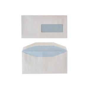 Standaard enveloppen 114x229mm gomsluiting venster rechts 80g - doos van 500