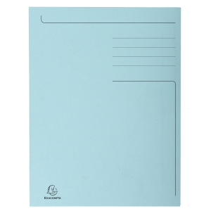 Exacompta 3-flap folders A4 cardboard 275g blue - pack of 50