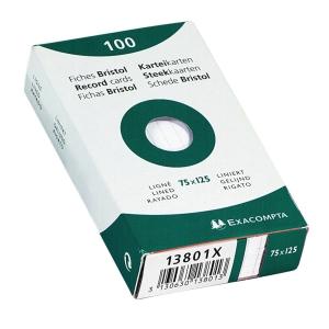 Exacompta systeemkaarten gelijnd 75x125mm wit - pak van 100