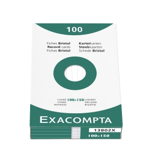 Exacompta system cards ruled 100x150mm white - pack of 100