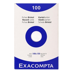 Exacompta systeemkaarten blanco 100x150mm wit - pak van 100