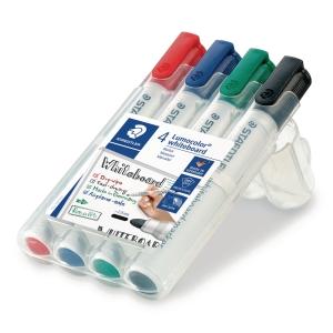 Staedtler® Lumocolor 351 whiteboard marker, assorti kleuren, per 4 stuks
