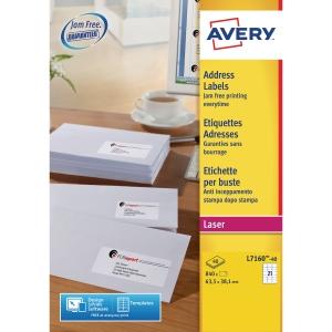 Avery L7160-40 etiketten voor laserprinters, 63,5 x 38,1 mm, 840 stuks