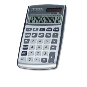 Citizen CPC112 basic+ pocket calculator silvergray - 12 numbers