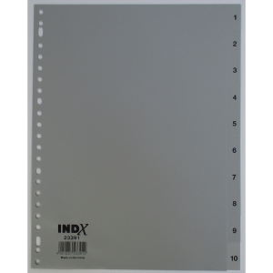 IndX numerical dividers 10 tabs PP 23-holes