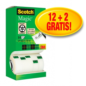 Scotch Magic 810 onzichtbaar plakband 19mmx33 m - value pack 12 + 2 gratis