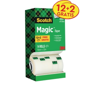 Scotch® Magic™ Tape 810, onzichtbaar, B 19 mm x L 33 m, voordeelpak 12+2 GRATIS
