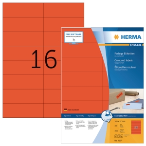 Herma 4257 coloured labels 105x37mm red - box of 1600